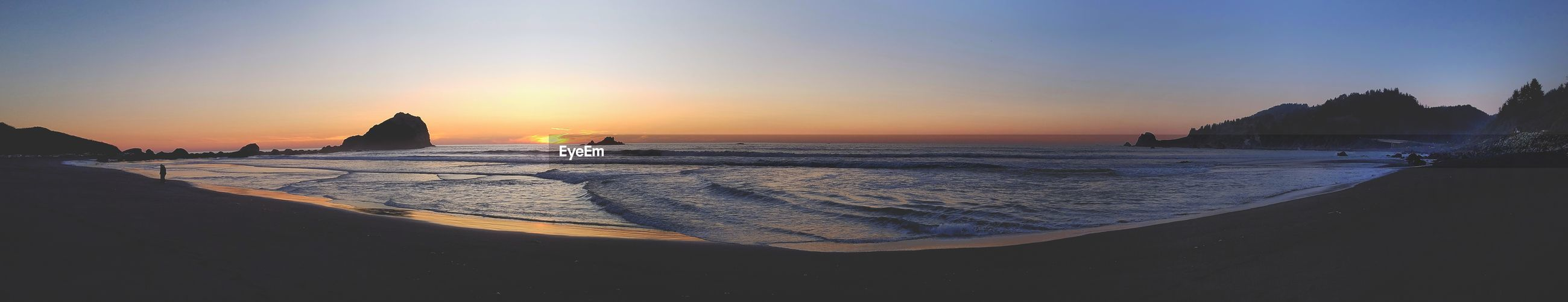 PANORAMIC VIEW OF BEACH AGAINST SKY DURING SUNSET