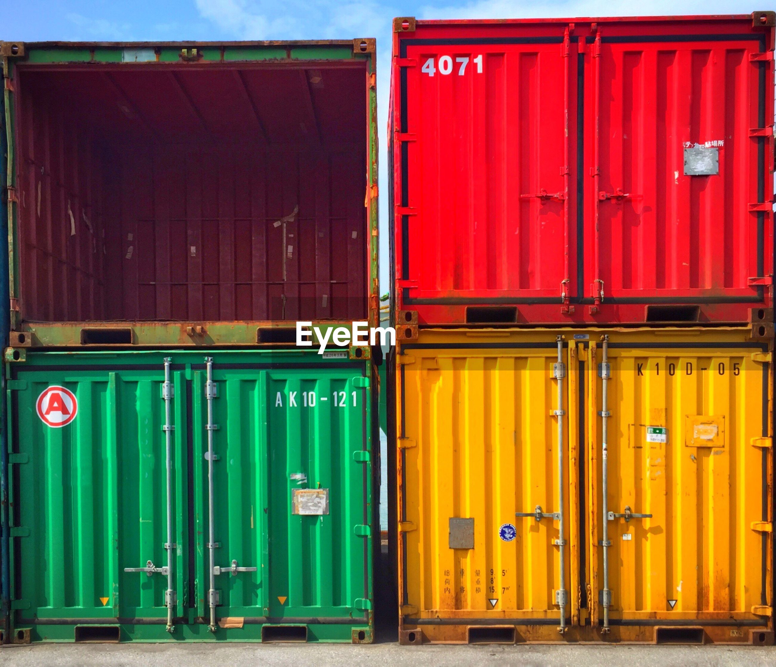 Colorful cargo containers at dock
