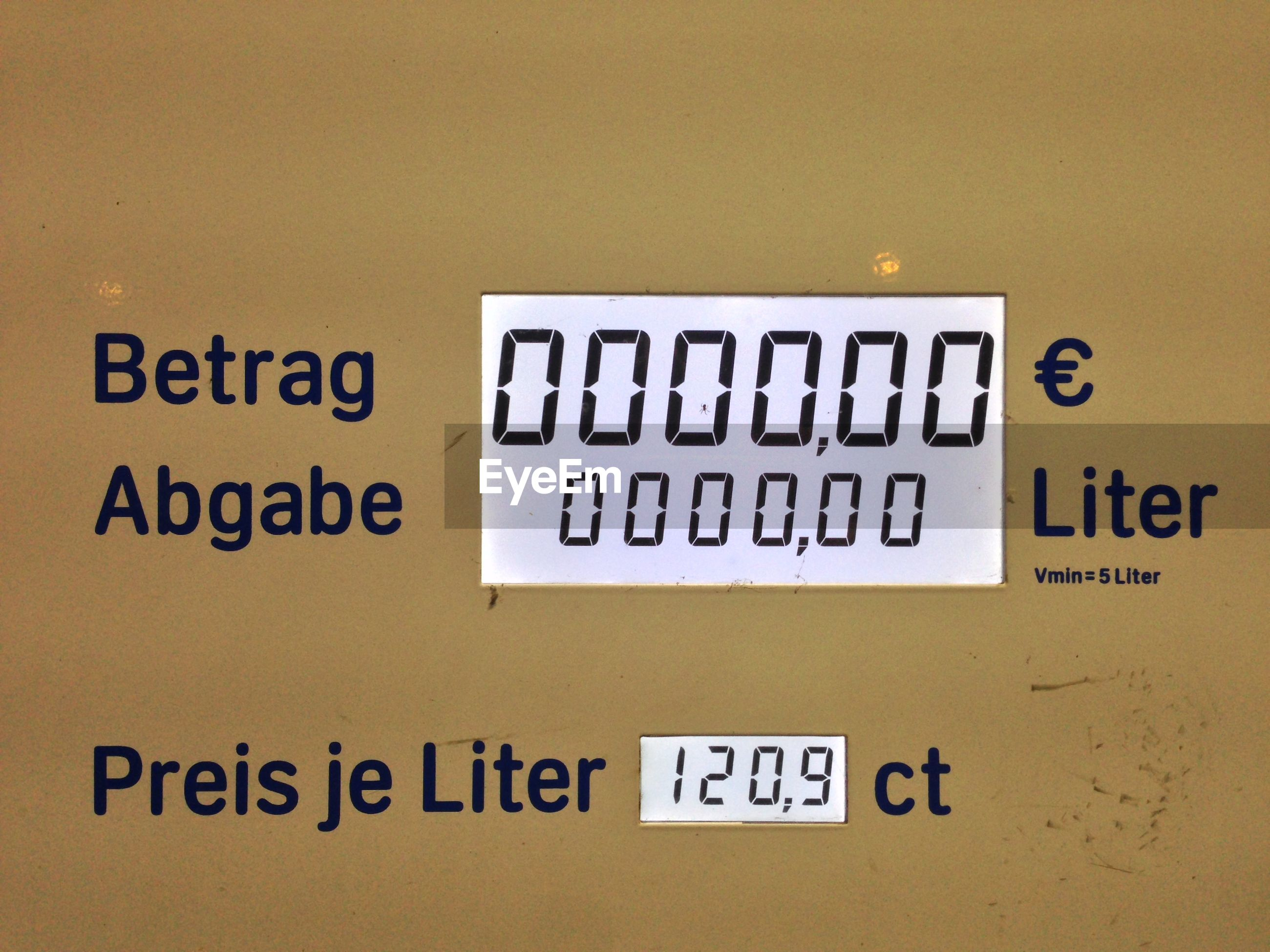 Close-up of fuel pump meter at gas station