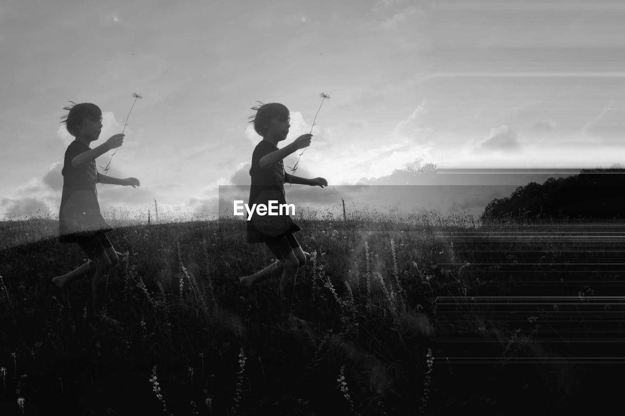 Multiple Image Of Boy Running On Field Against Sky
