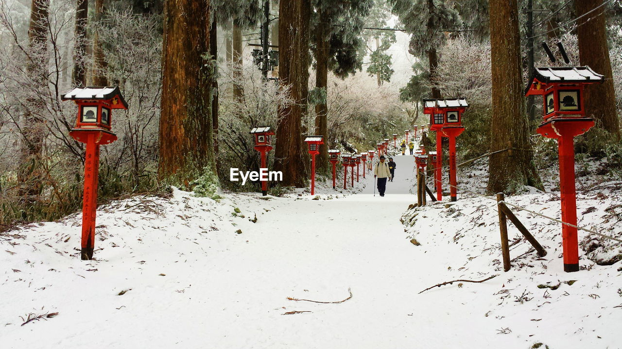 snow, cold temperature, winter, land, nature, tree, no people, day, covering, plant, tranquility, red, communication, beauty in nature, sign, field, white color, tranquil scene, architecture, outdoors