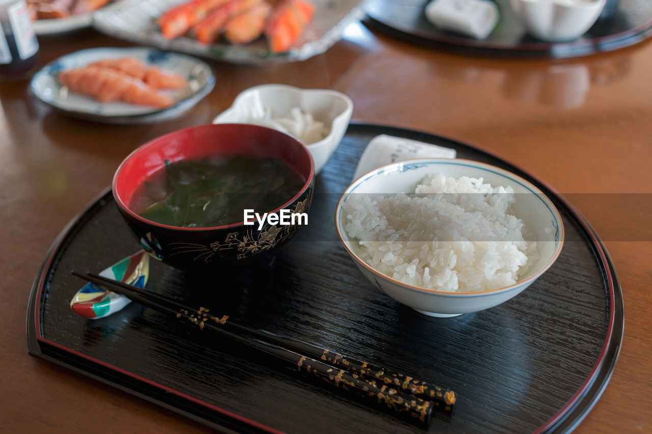 High angle view of japanese food on table