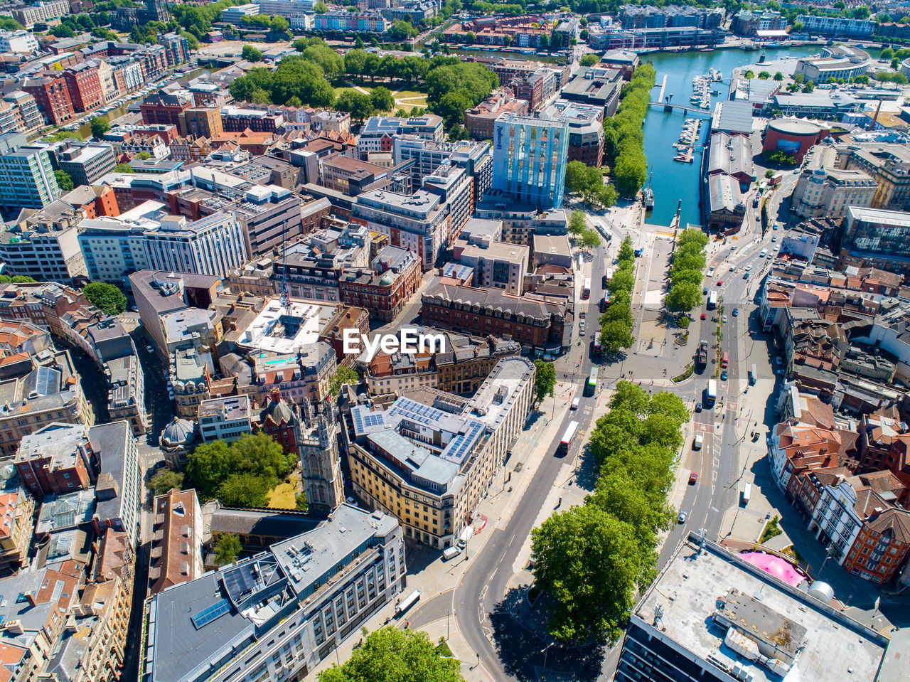 Aerial view of bristol city centre