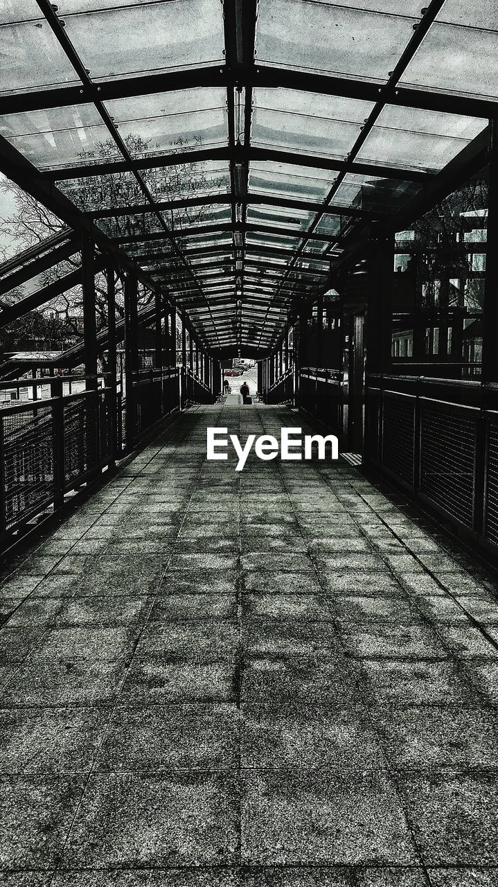 Empty Covered Footbridge