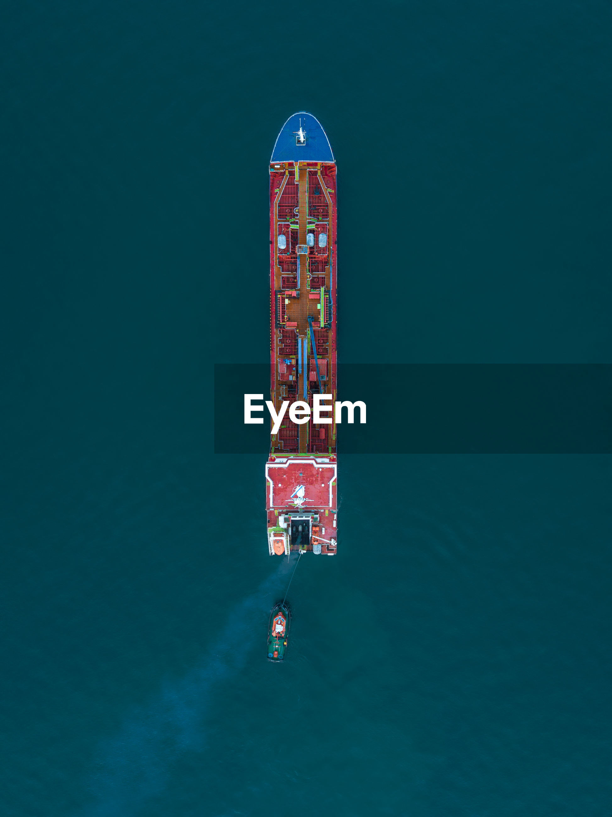Directly above shot of barge on sea