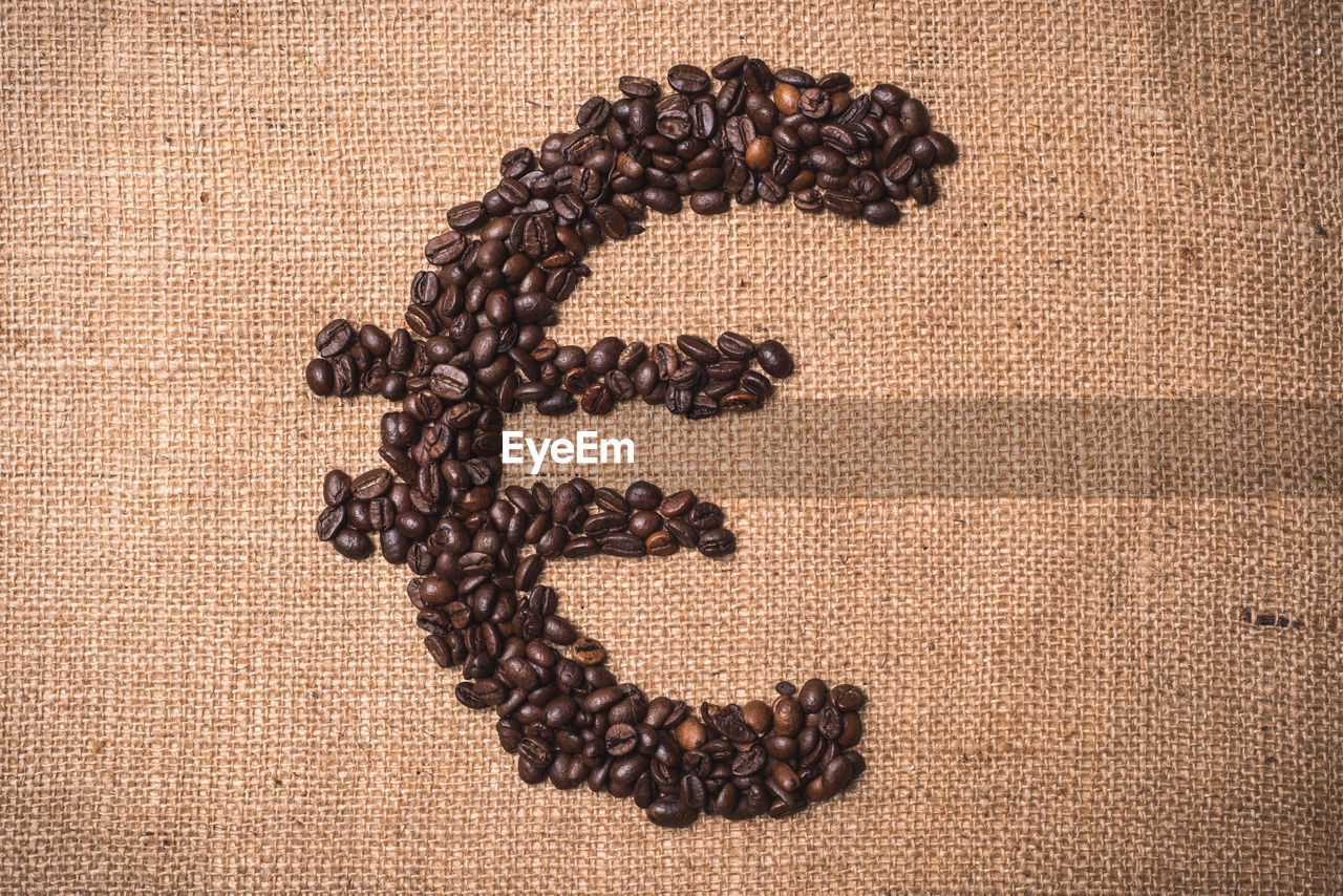 Euro sign formed of coffee beans on sack
