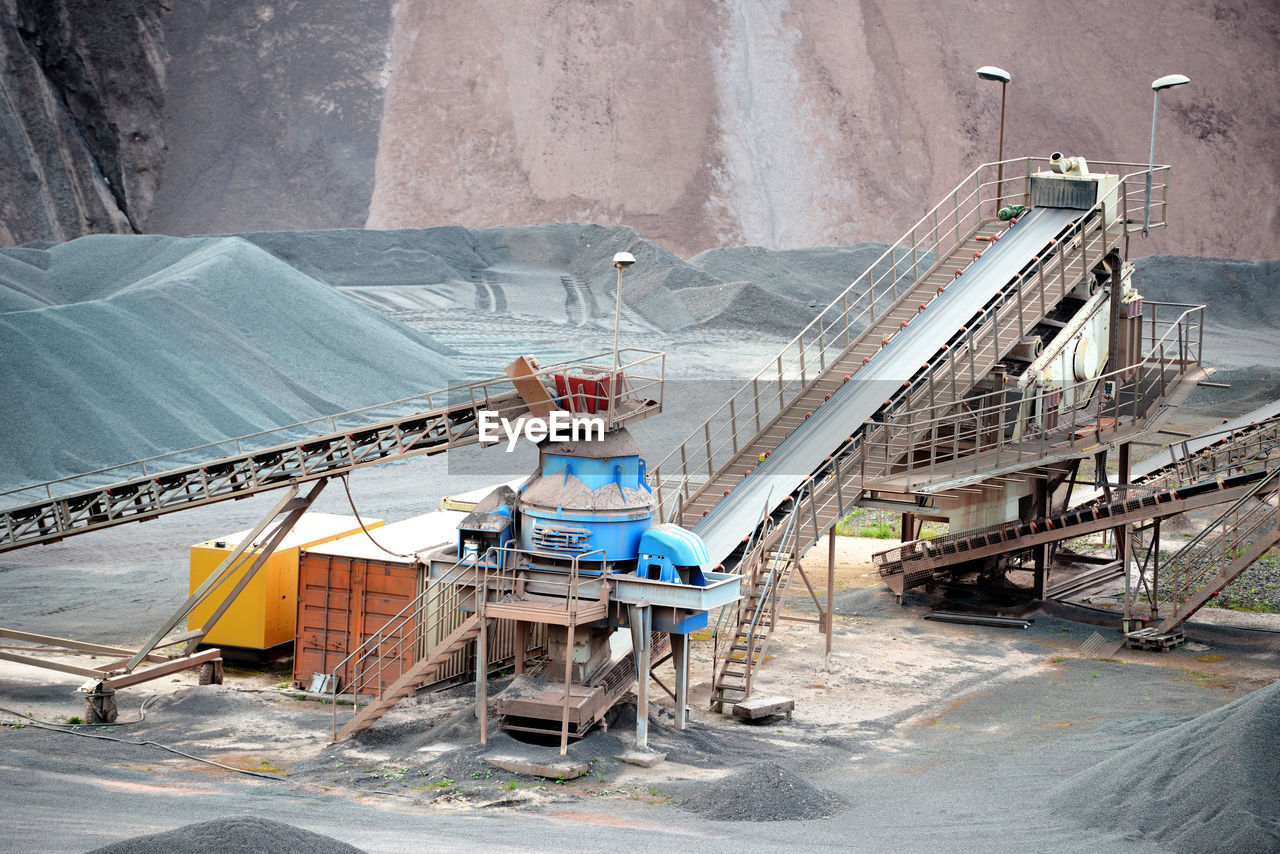 High angle view of coal mining machinery