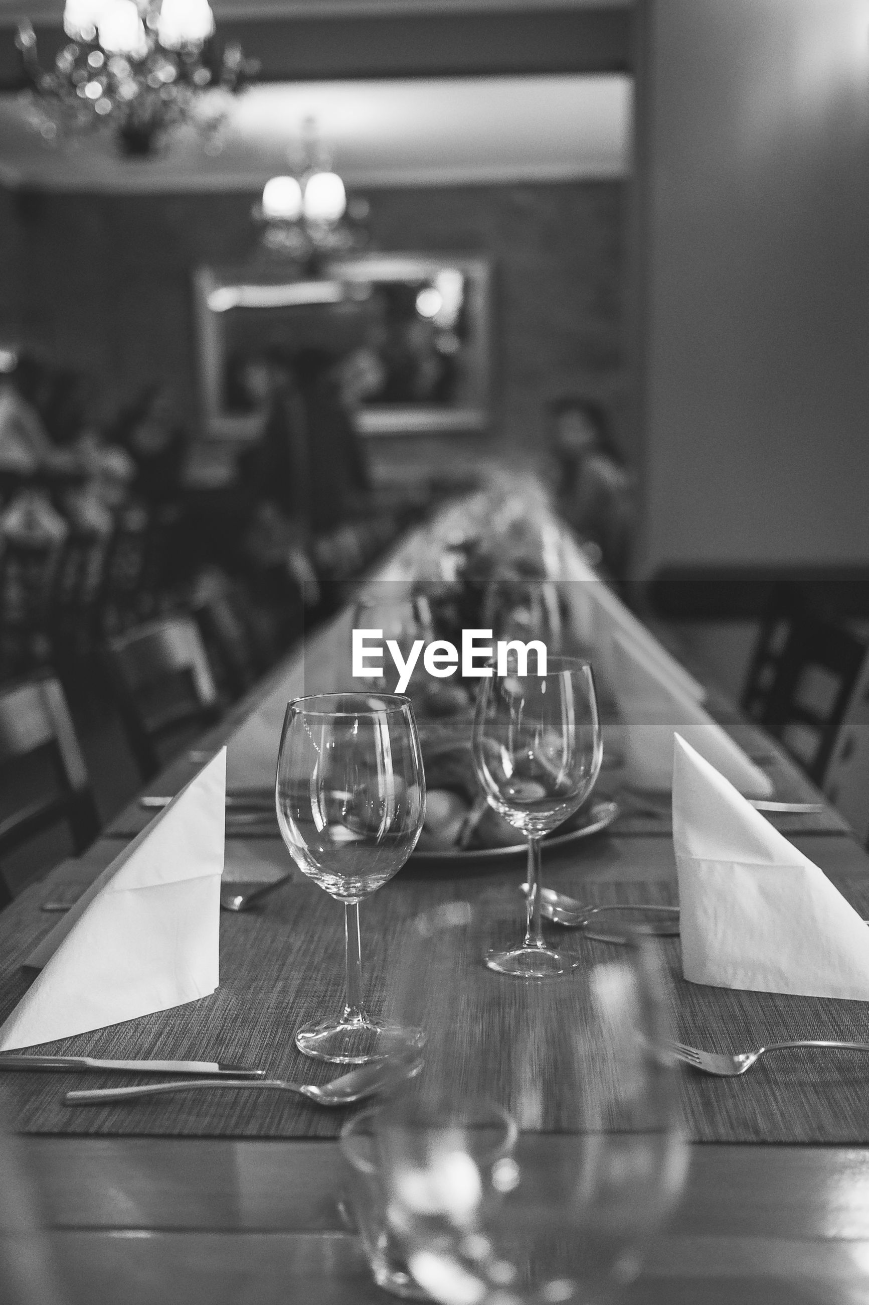 Place setting on dining table in restaurant