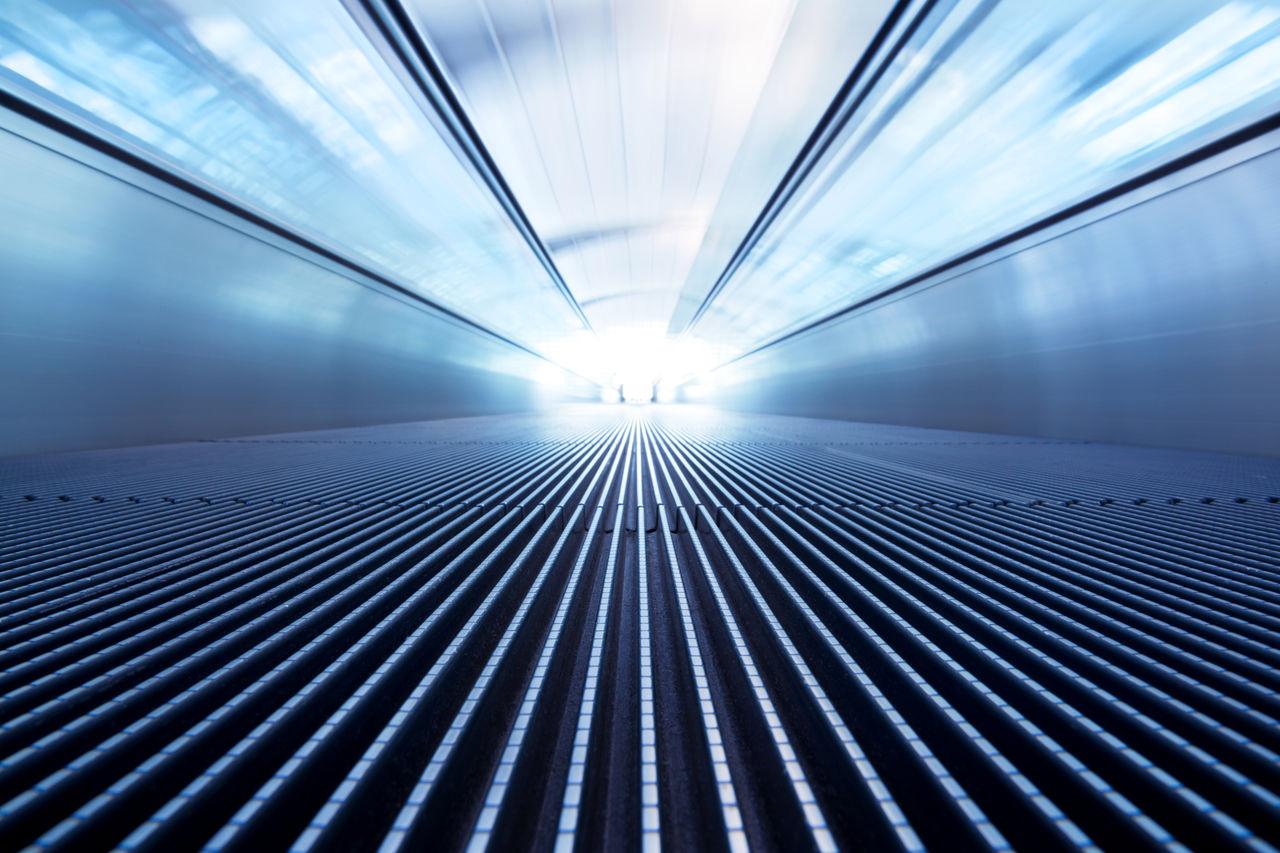 Close Up Of Illuminated Escalator