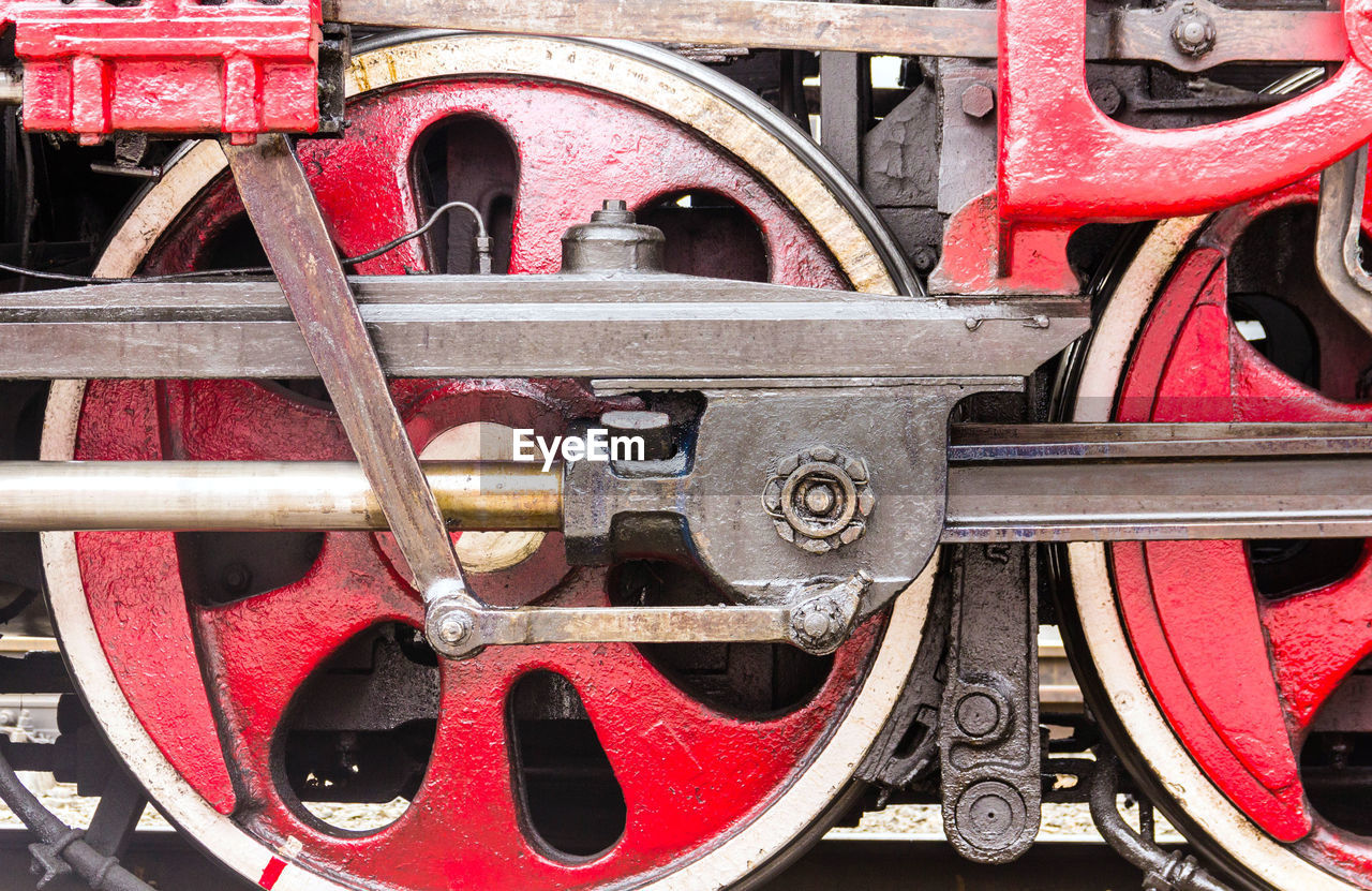 red, wheel, transportation, mode of transport, no people, day, train - vehicle, outdoors, steam train, close-up, locomotive