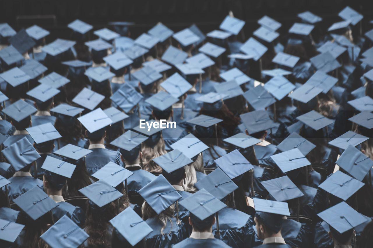 High Angle View Of Graduates