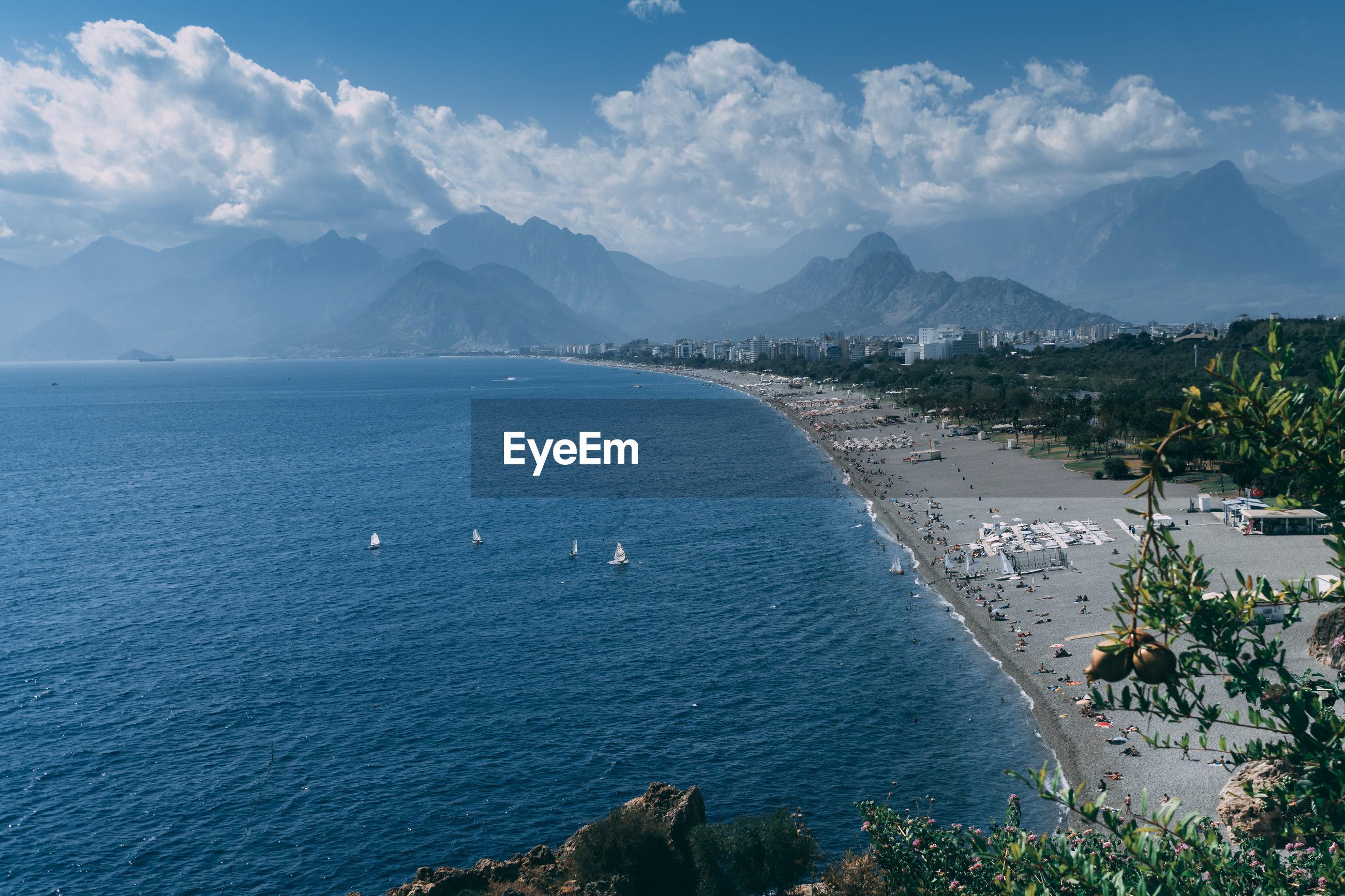 6th october 2019 antalya, turkey scenic view of the konyaalti beach, the very long coast.