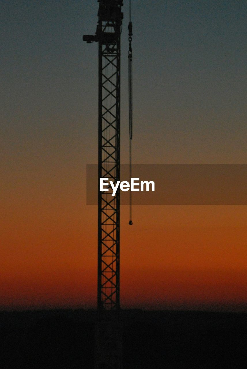sunset, silhouette, orange color, dusk, nature, tranquility, sky, beauty in nature, scenics, outdoors, tranquil scene, no people, clear sky, day, drilling rig