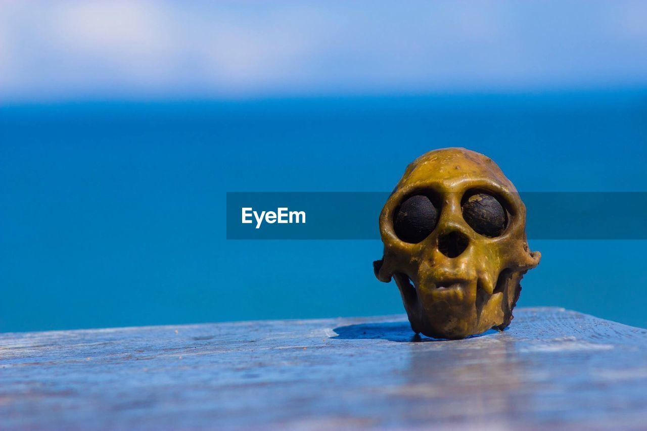 Human Skull On Table By Sea Against Sky