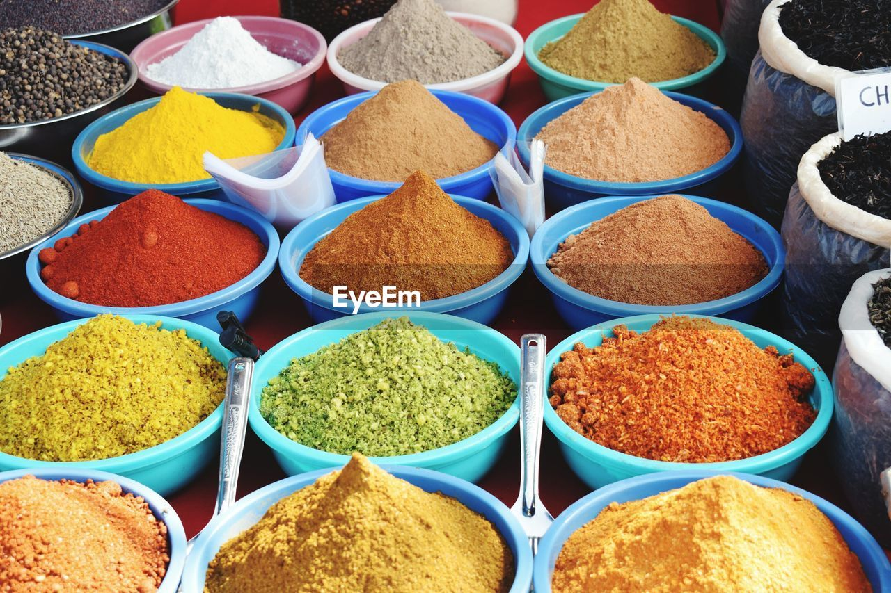 Elevated View Of Spices On Market Stall