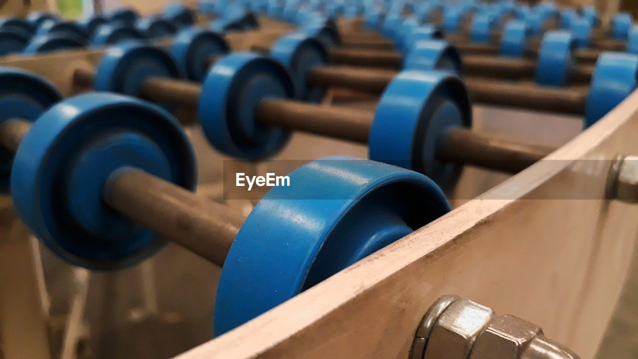 High angle view of dumbbells at industry
