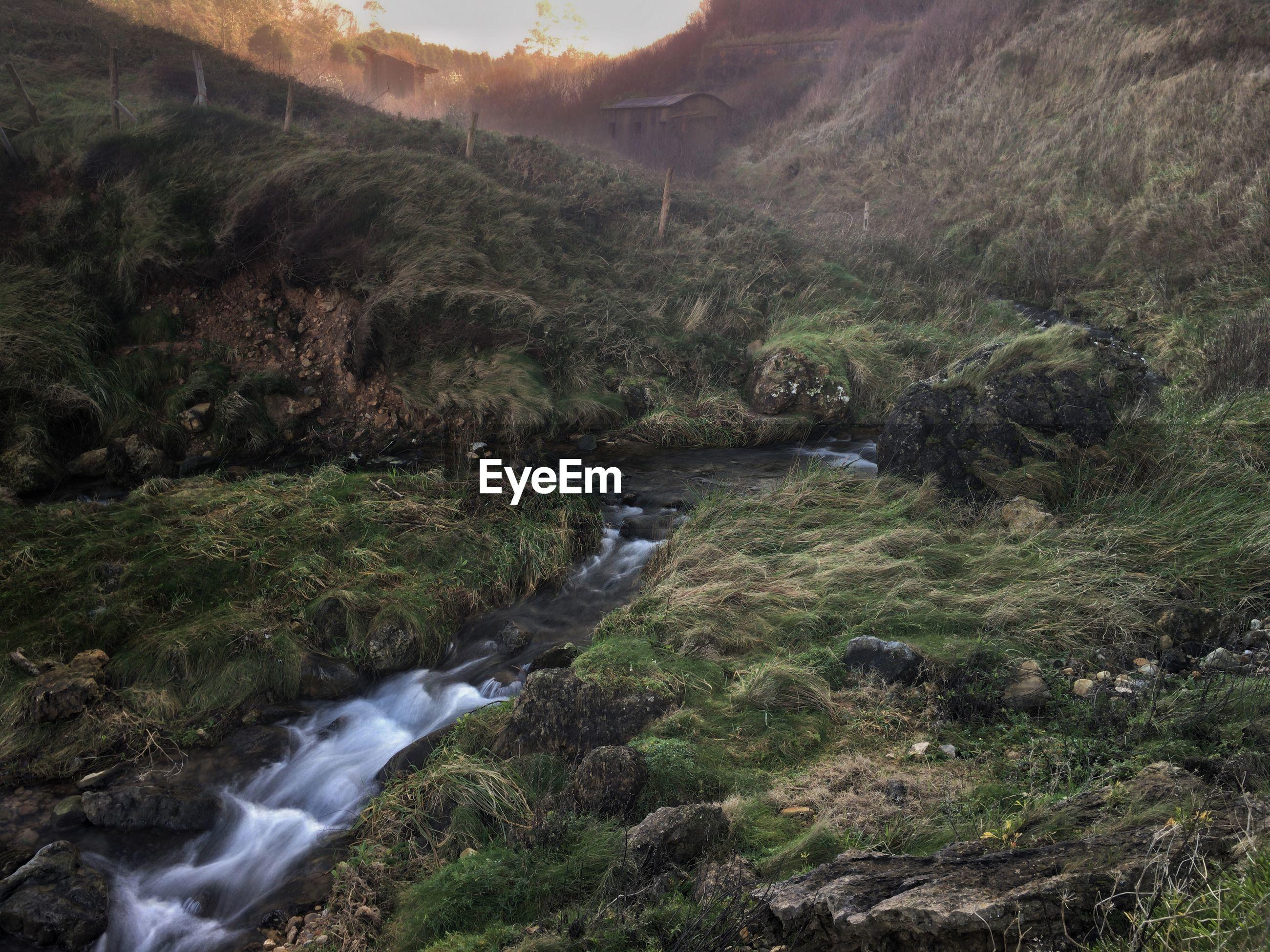 Stream flowing through rocks in river