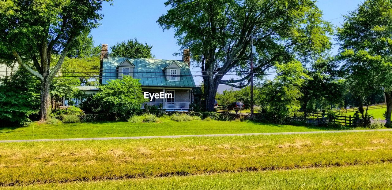 plant, tree, grass, architecture, built structure, building exterior, sky, nature, day, land, building, green color, landscape, no people, house, field, outdoors, sunlight, tranquility, tranquil scene