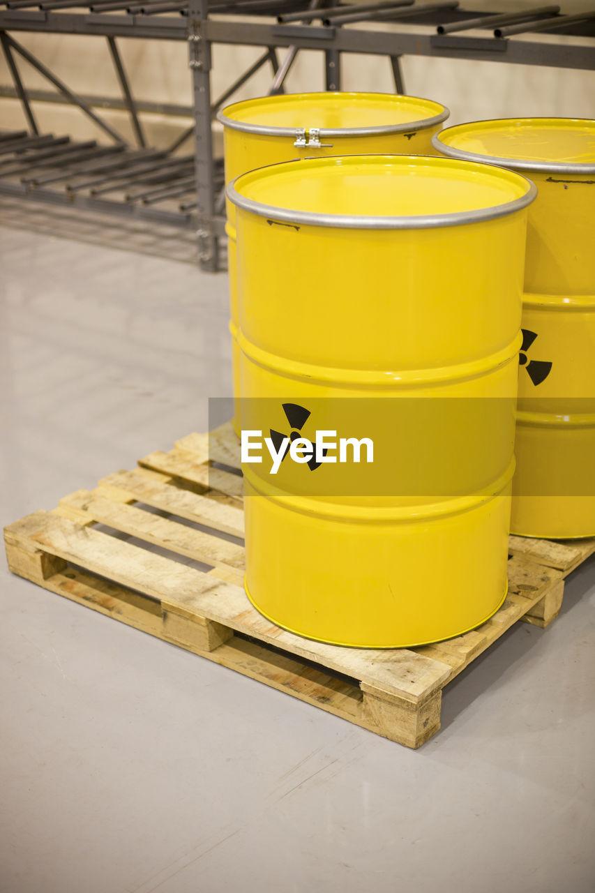 Close-up of radioactive barrels