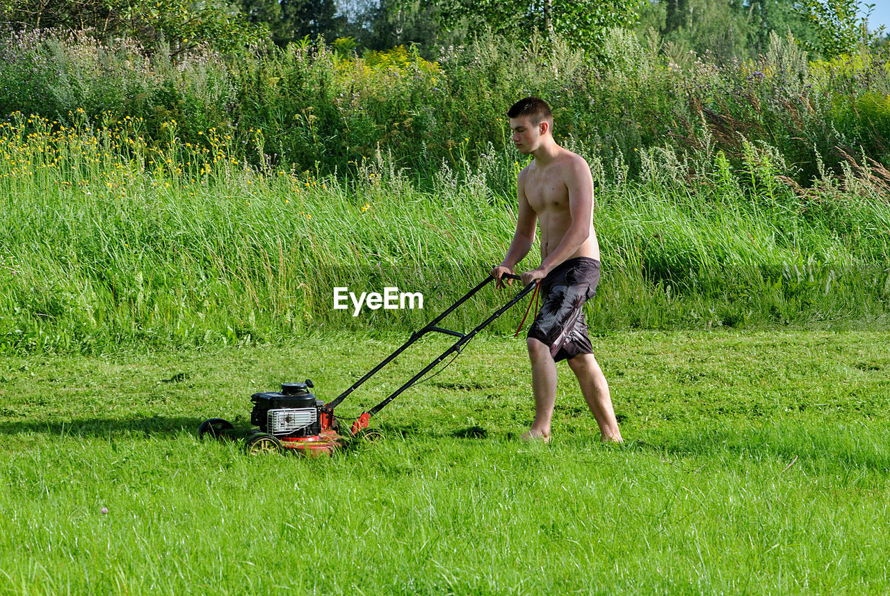 Shirtless young man mowing grassy field