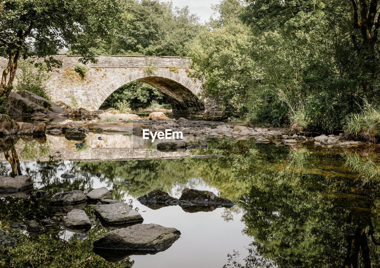 water, tree, plant, reflection, arch, nature, lake, architecture, waterfront, built structure, no people, solid, day, connection, bridge, rock, bridge - man made structure, rock - object, tranquility, arch bridge, outdoors, flowing