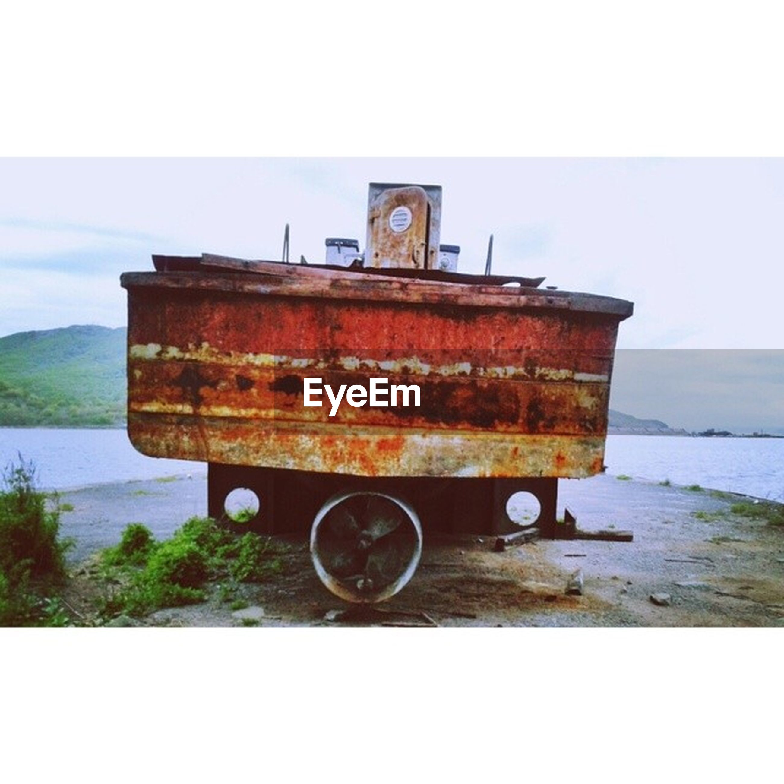 abandoned, old, water, transportation, obsolete, sky, rusty, mode of transport, lake, wood - material, auto post production filter, run-down, weathered, transfer print, boat, nautical vessel, outdoors, day, damaged, tranquility