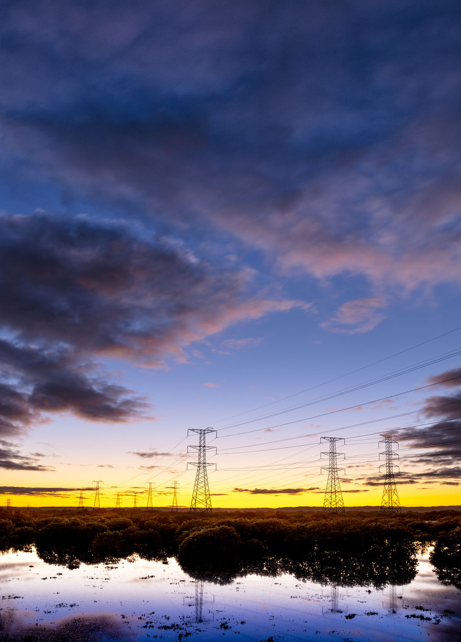 sky, cloud - sky, beauty in nature, technology, no people, snow, sunset, nature, electricity pylon, cold temperature, winter, electricity, connection, cable, scenics - nature, tranquility, tranquil scene, fuel and power generation, power line, power supply, outdoors, electrical equipment