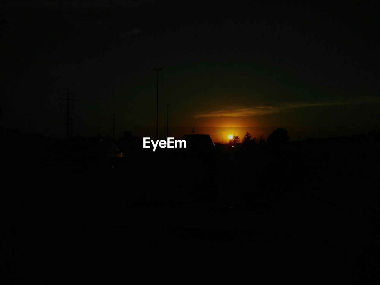 silhouette, sunset, sky, no people, car, night, transportation, outdoors, nature, illuminated