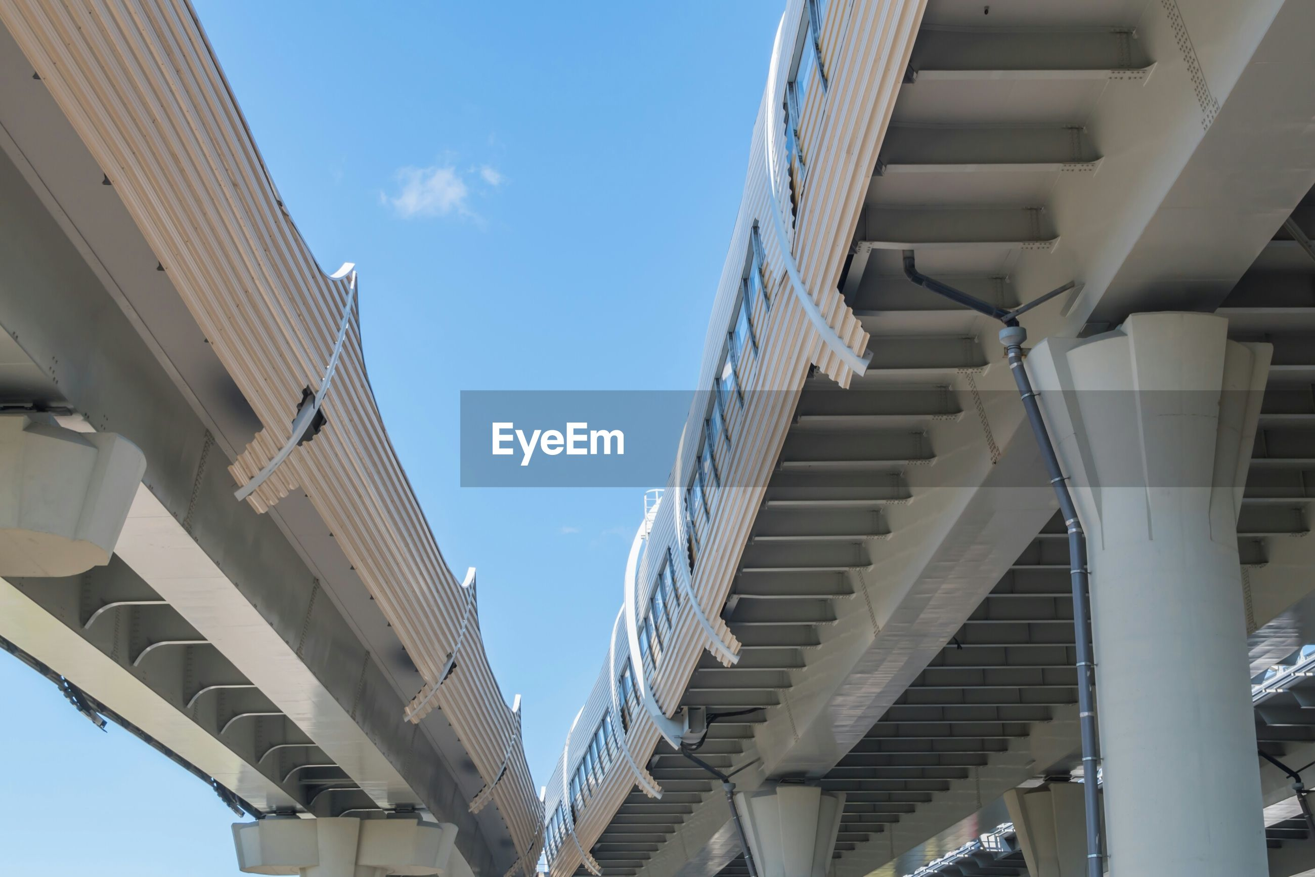 Low angle view of modern highways