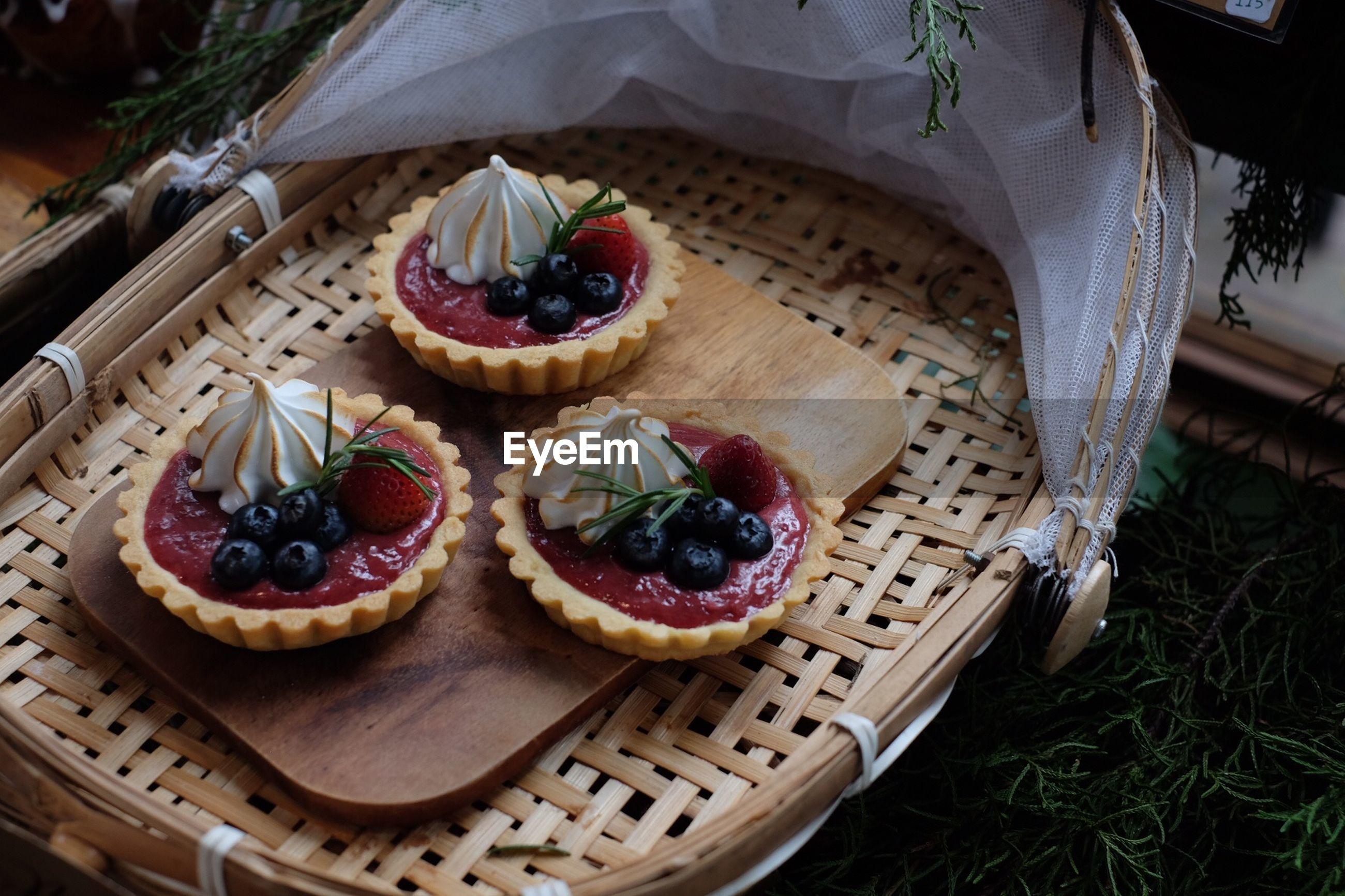 High angle view of dessert on basket