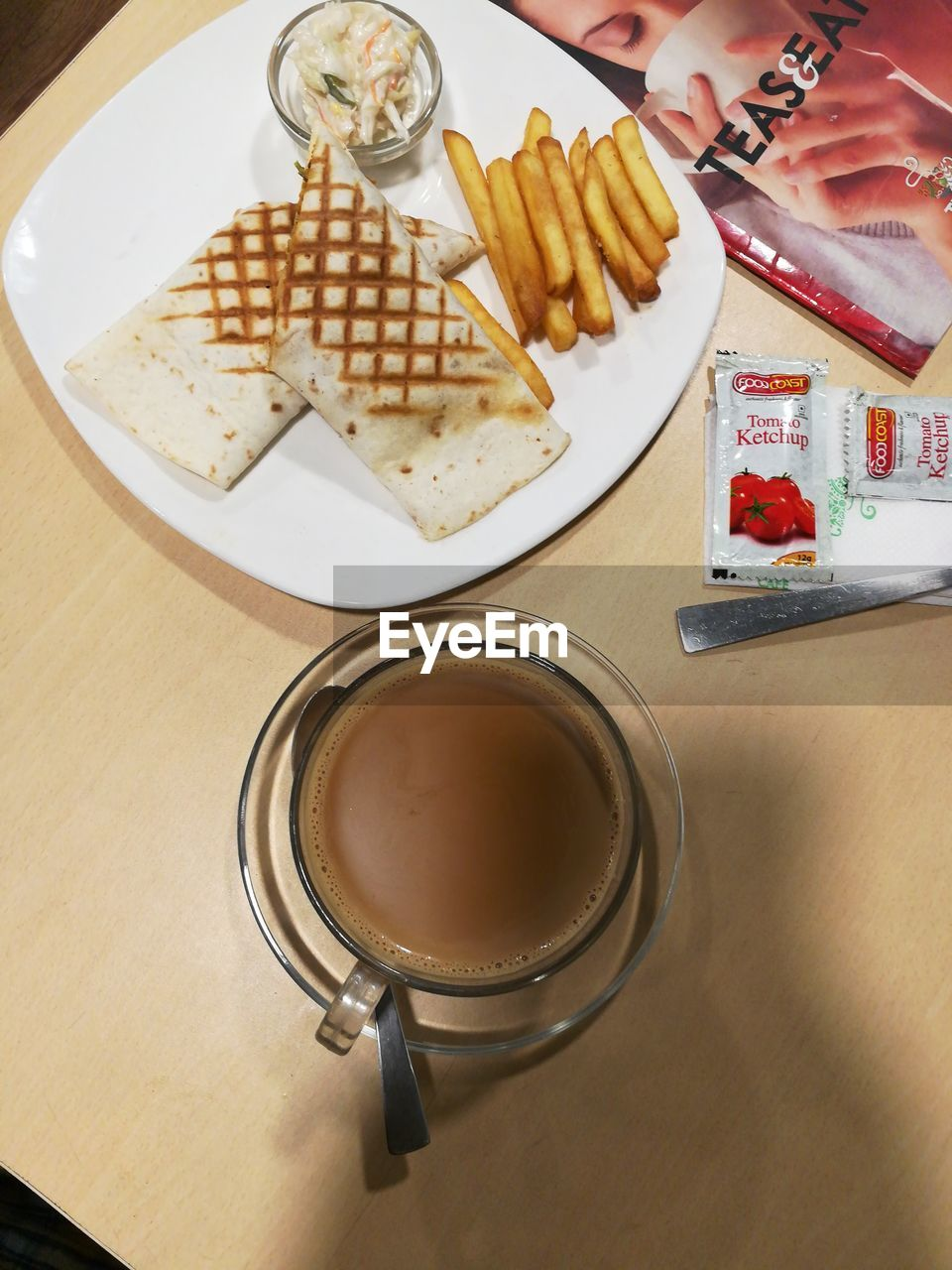 food and drink, plate, food, freshness, table, fork, indoors, indulgence, refreshment, sweet food, dessert, ready-to-eat, drink, serving size, drinking glass, unhealthy eating, breakfast, real people, temptation, close-up, day