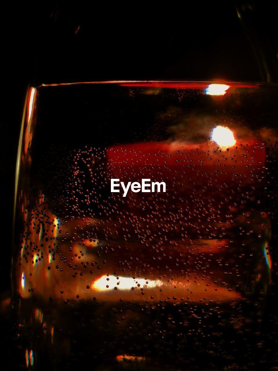 night, illuminated, car, wet, land vehicle, close-up, window, no people, indoors, transportation, sunset, water, sky