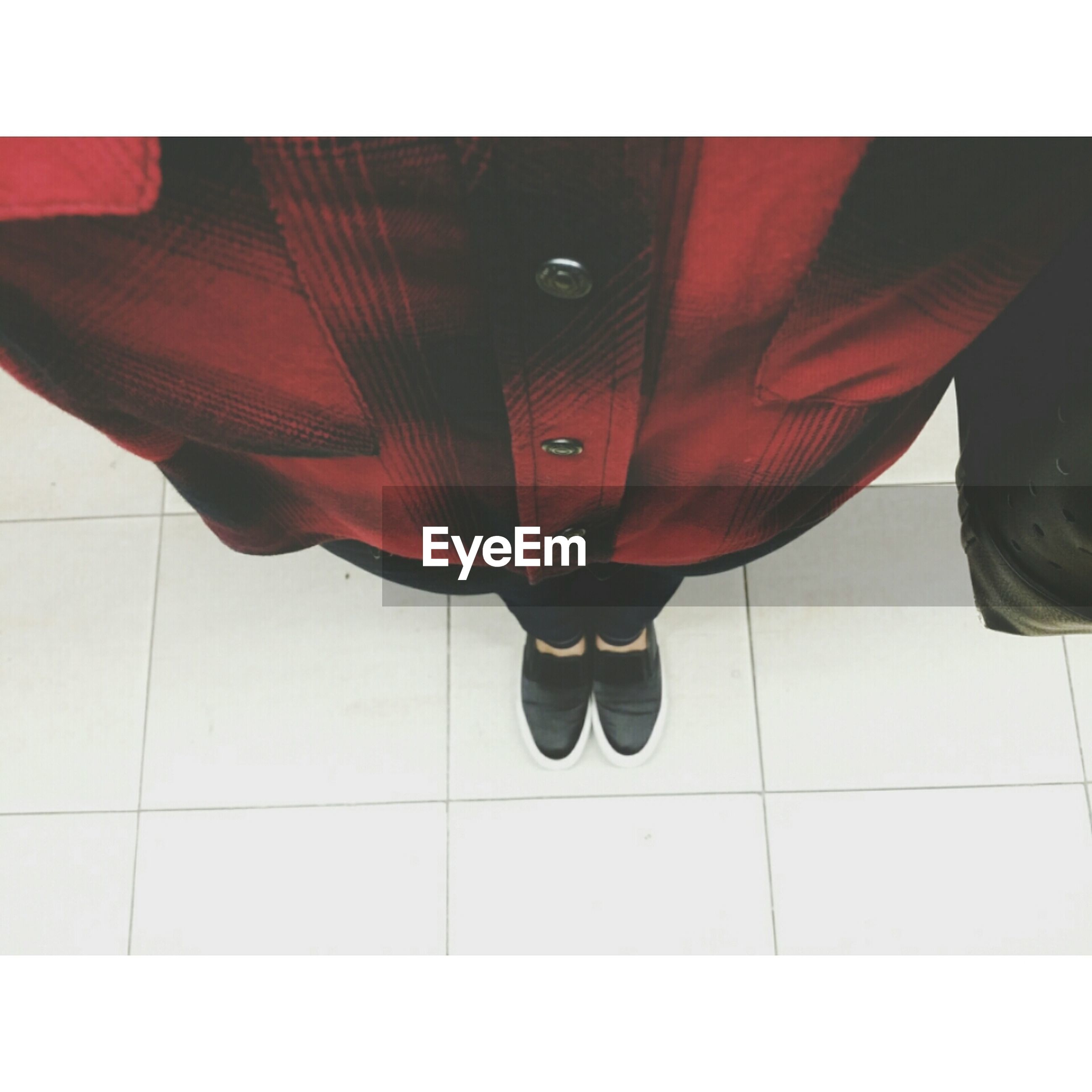 transfer print, indoors, auto post production filter, tiled floor, low section, person, shoe, flooring, footwear, tile, standing, red, pattern, high angle view, human foot, shadow