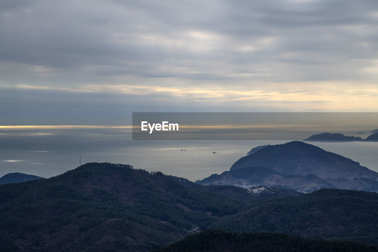 sky, cloud - sky, mountain, beauty in nature, tranquil scene, tranquility, scenics - nature, environment, non-urban scene, nature, landscape, no people, idyllic, mountain range, outdoors, sunset, day, overcast, remote, mountain peak