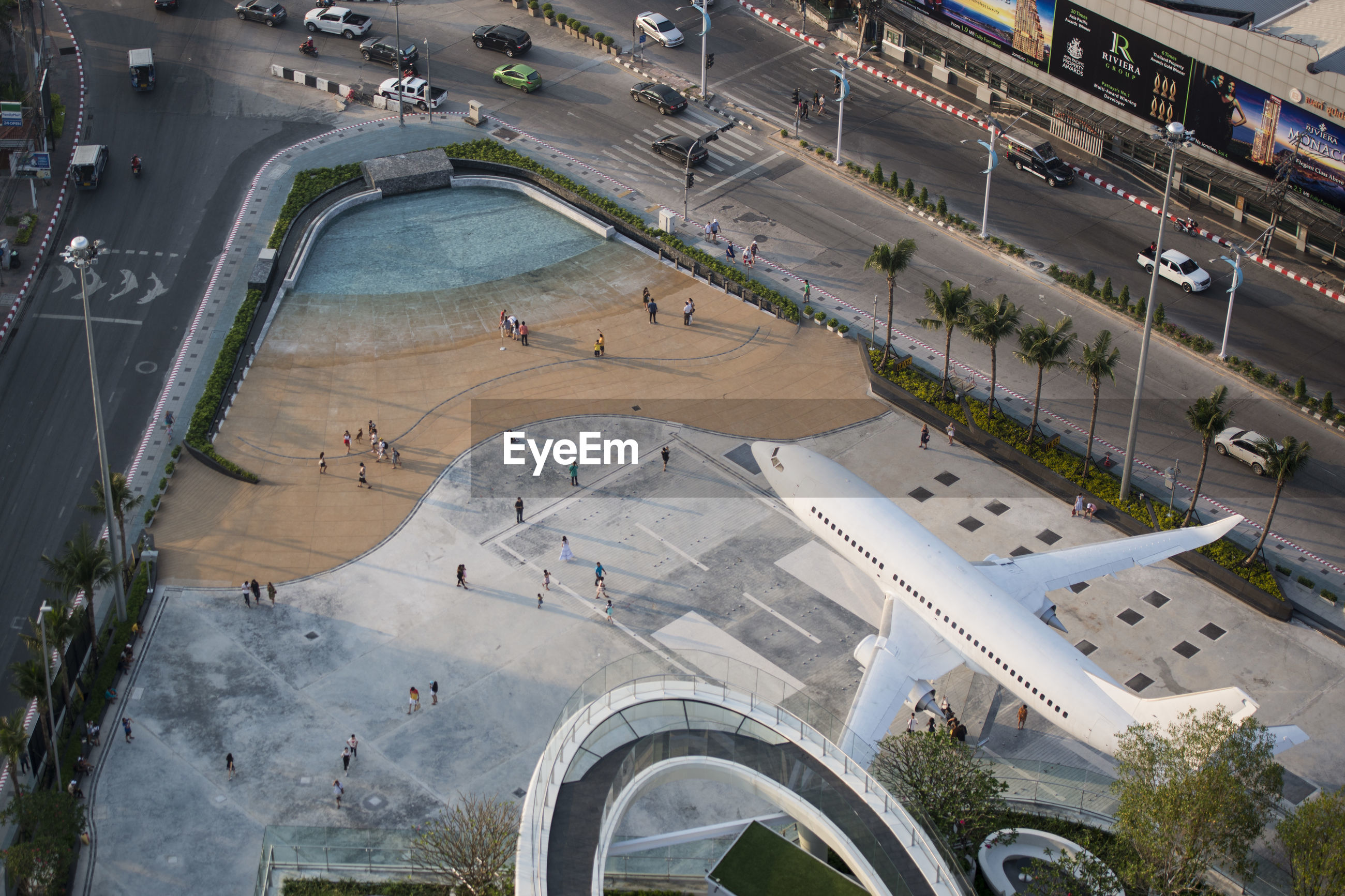 Aerial view of airplane sculpture in city