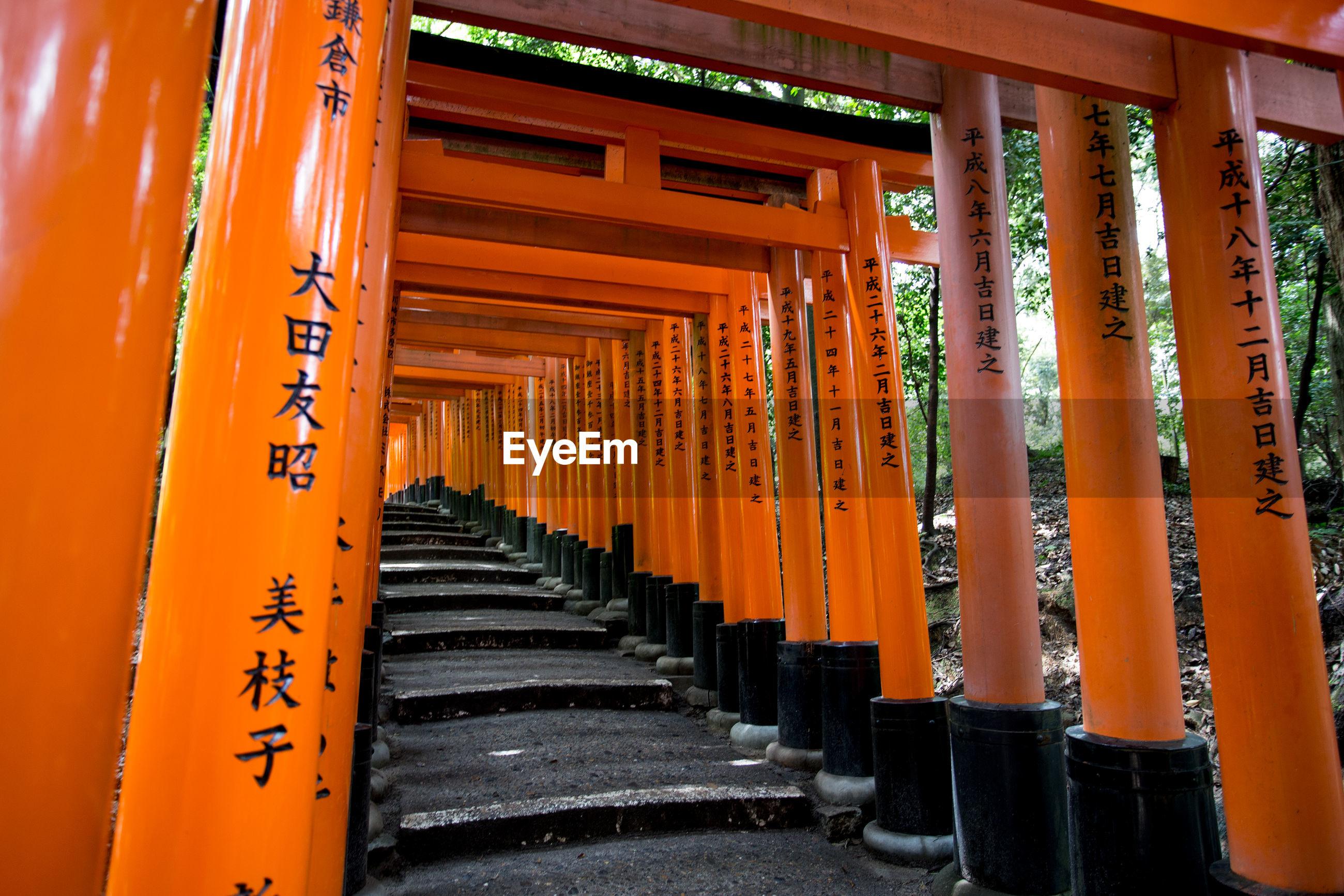 Steps amidst torii gates at fushimi inari shrine