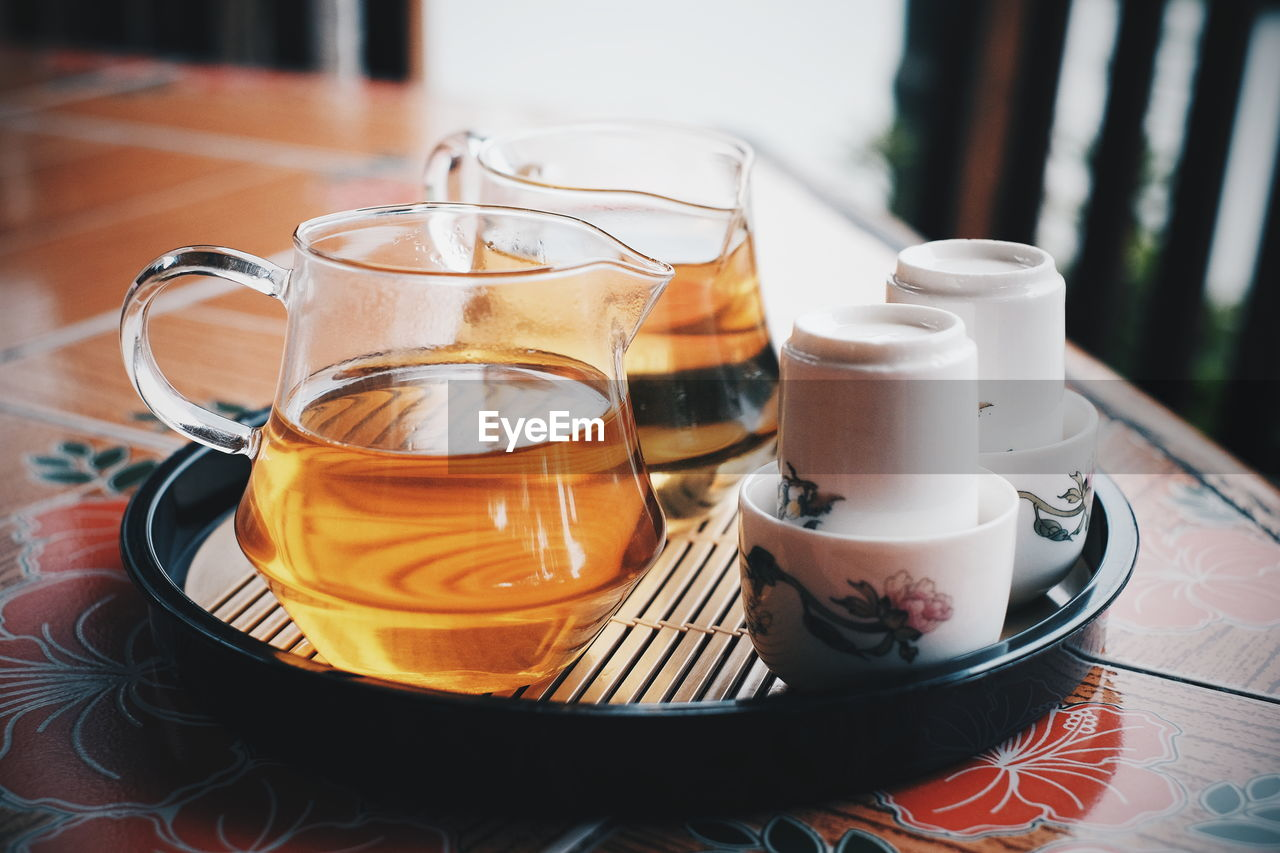 Close-up of tea in tray on table