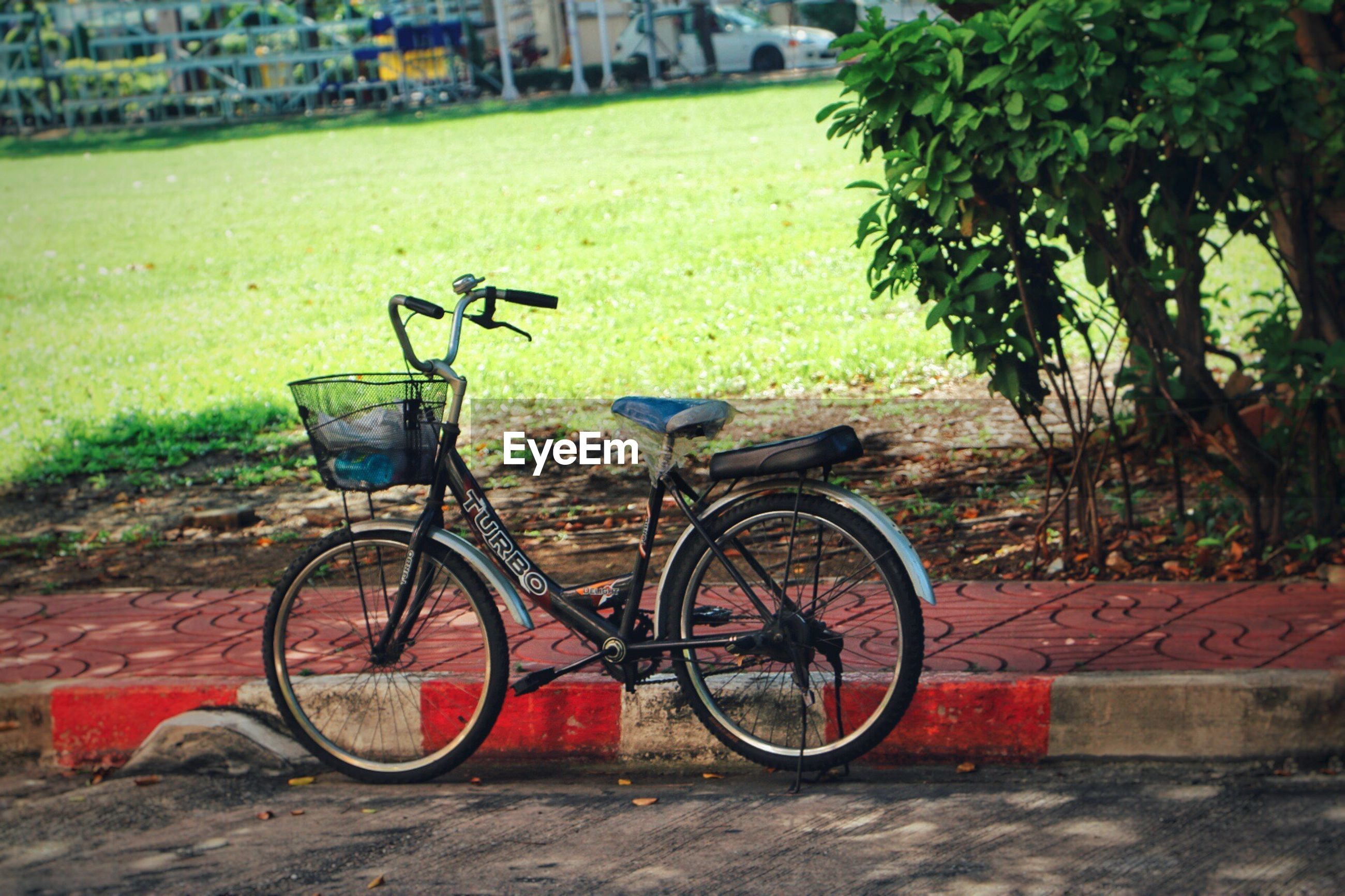 bicycle, mode of transport, transportation, land vehicle, stationary, parking, outdoors, tree, no people, bicycle basket, bicycle rack, grass, day, nature, handlebar