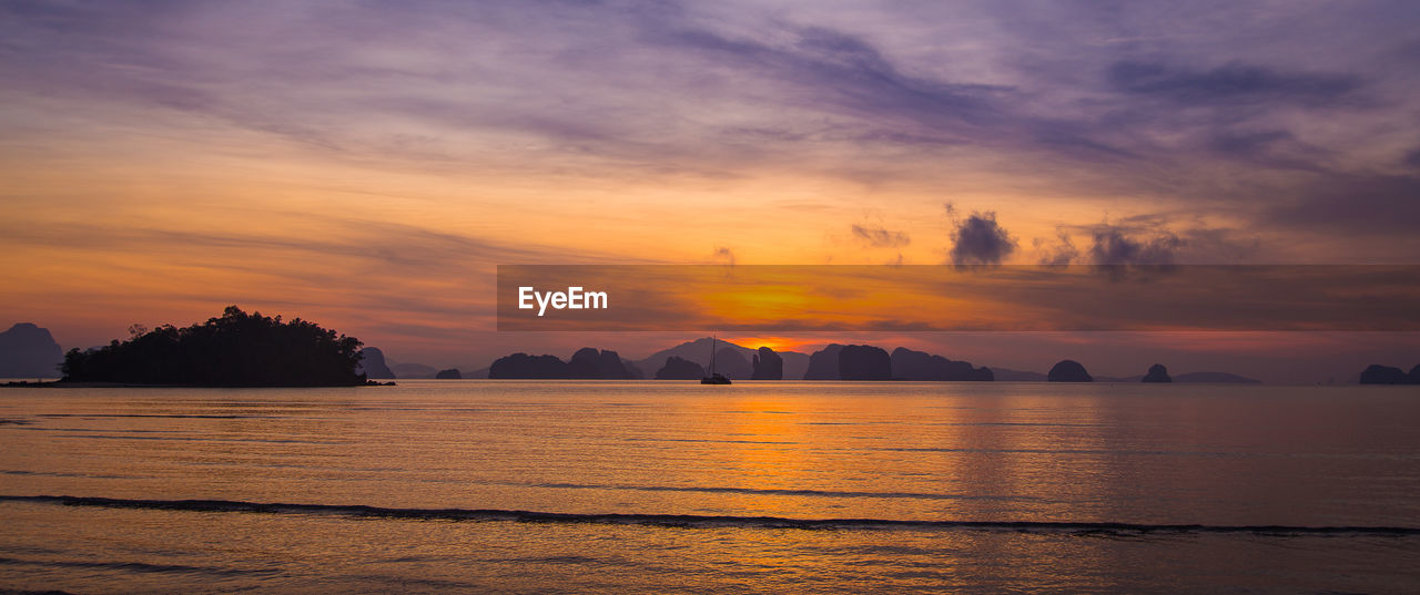 sunset, sky, scenics - nature, beauty in nature, water, cloud - sky, tranquil scene, orange color, tranquility, waterfront, idyllic, sea, no people, nature, non-urban scene, silhouette, outdoors, dramatic sky, remote, romantic sky