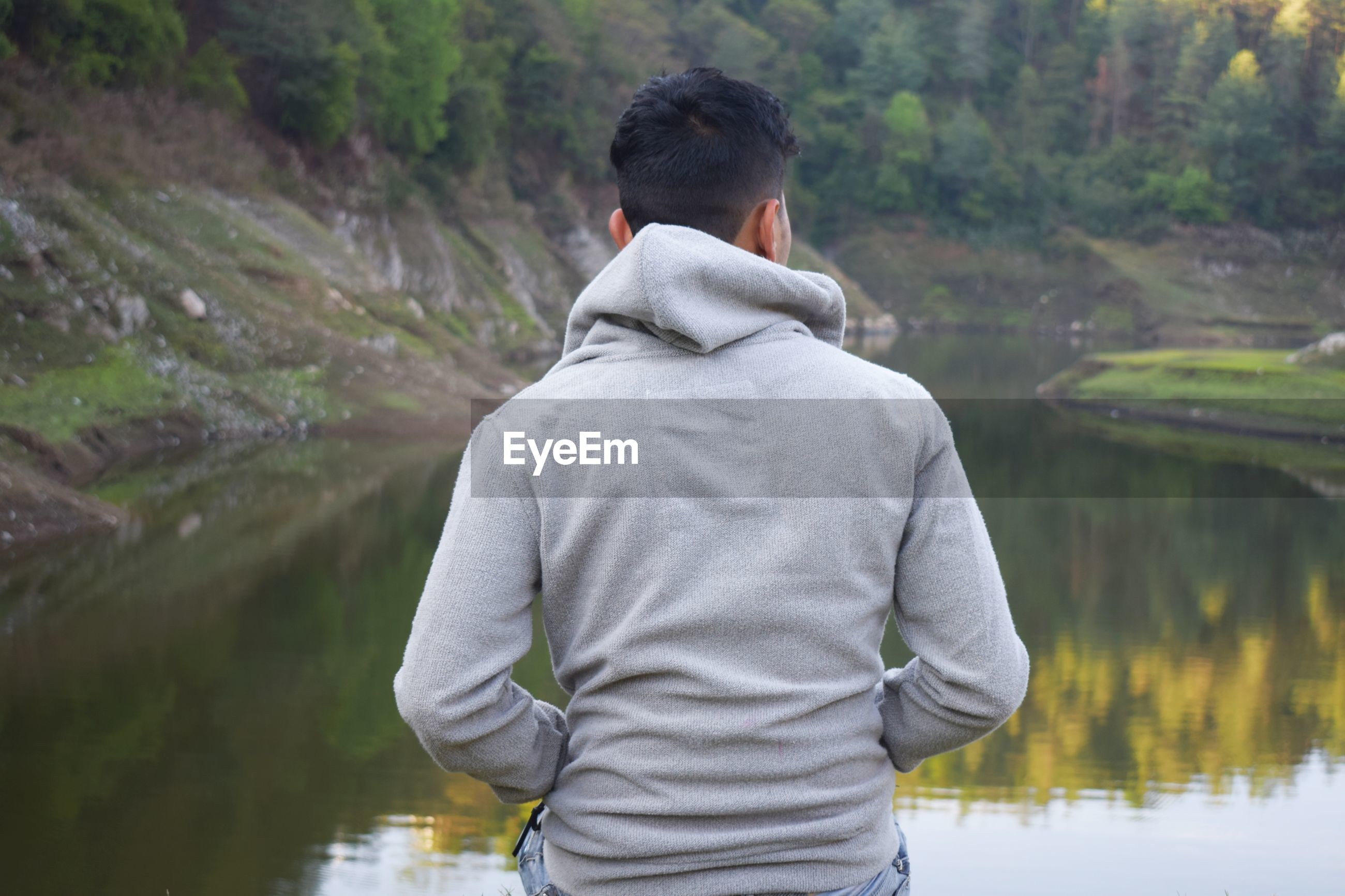 Rear view of young man looking at lake while sitting in forest