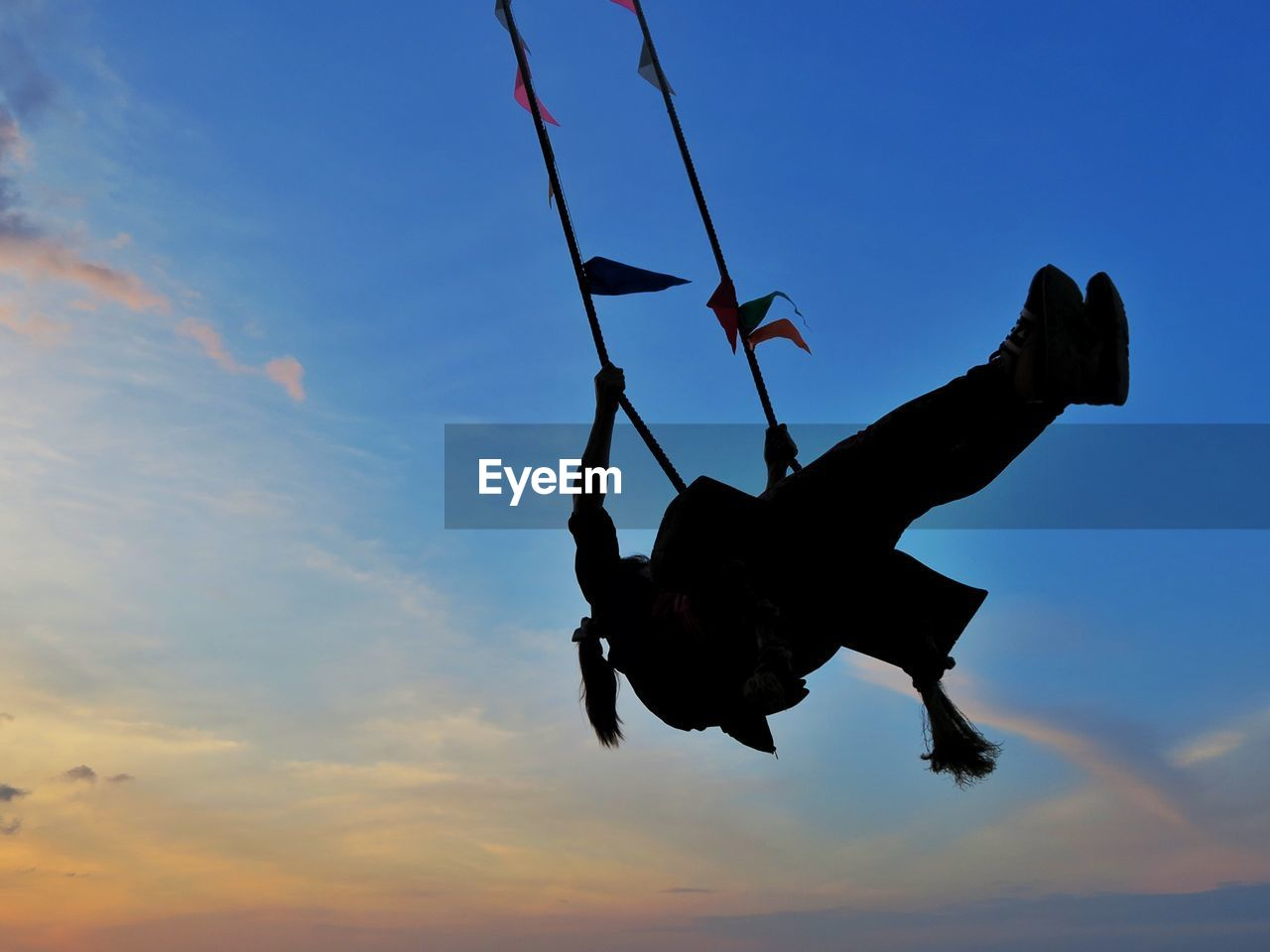 sky, sunset, low angle view, silhouette, no people, outdoors, flying, mid-air, air vehicle, day