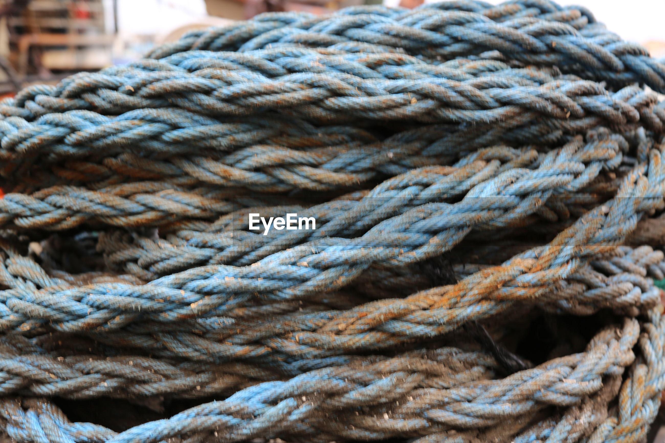 Full frame shot of rusty ropes