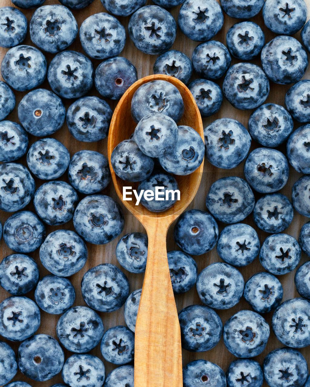 Fresh Blue Berries In A Wooden Spoon