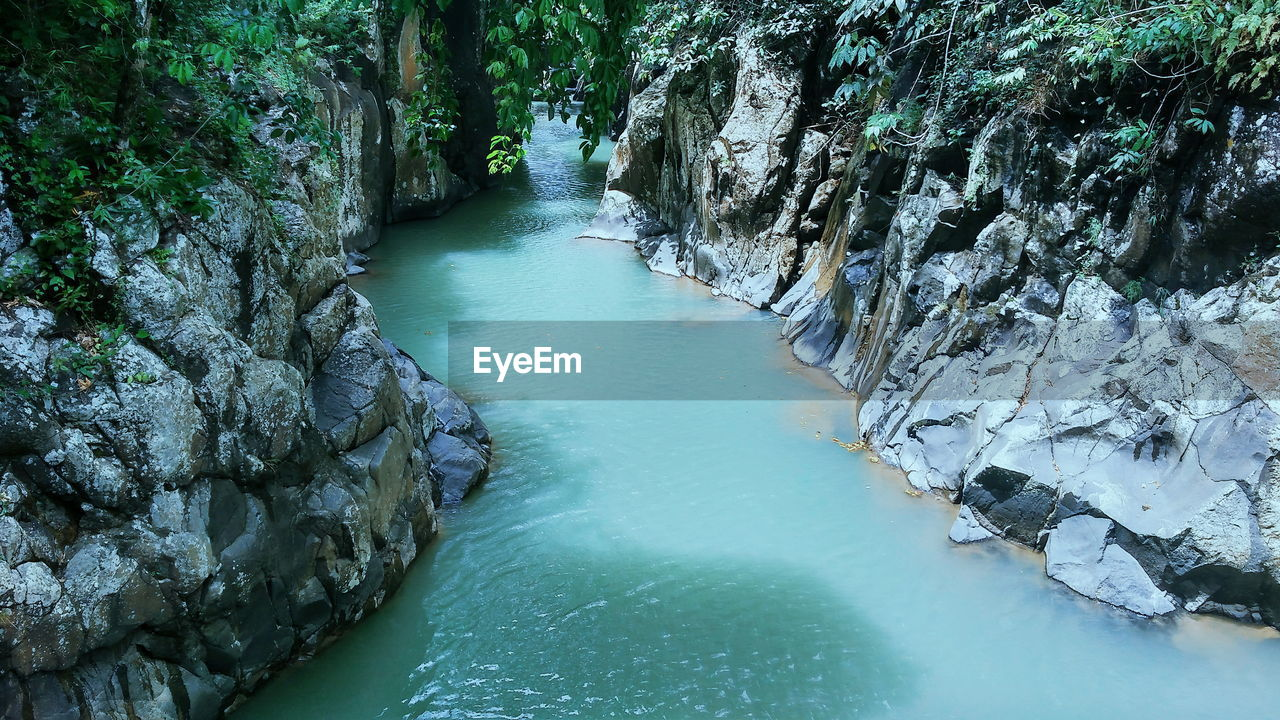 RIVER AMIDST ROCKS IN FOREST