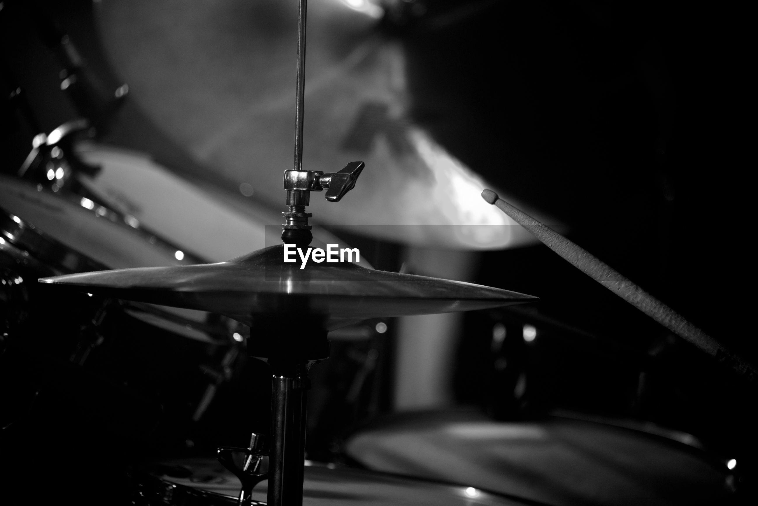 View of musical equipment, drum kit.
