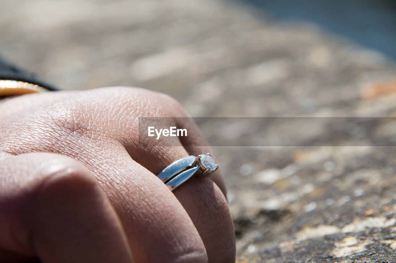 Close-Up Of Woman With Wedding Ring In Finger