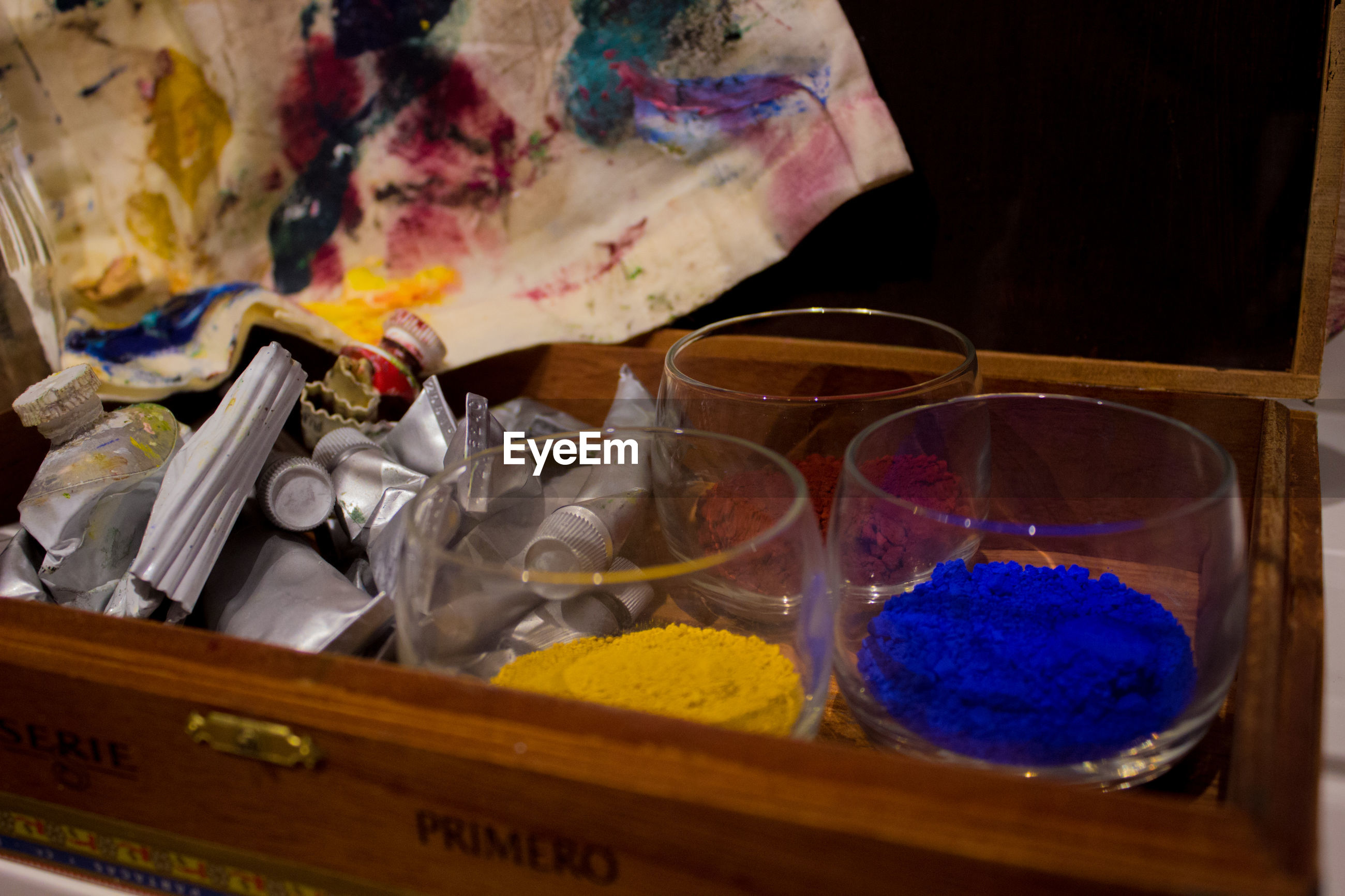 Close-up of watercolor paints in box