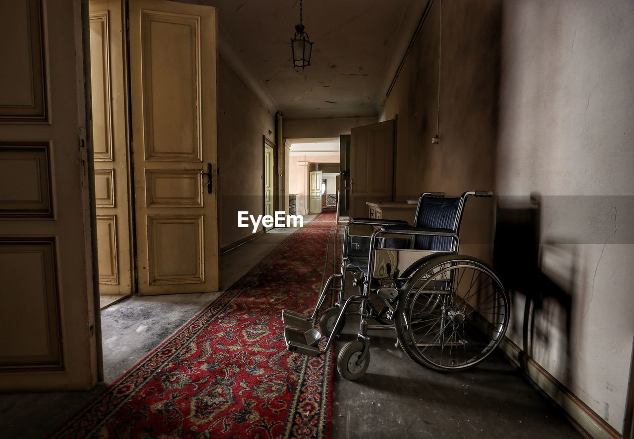 Wheelchair in abandoned building