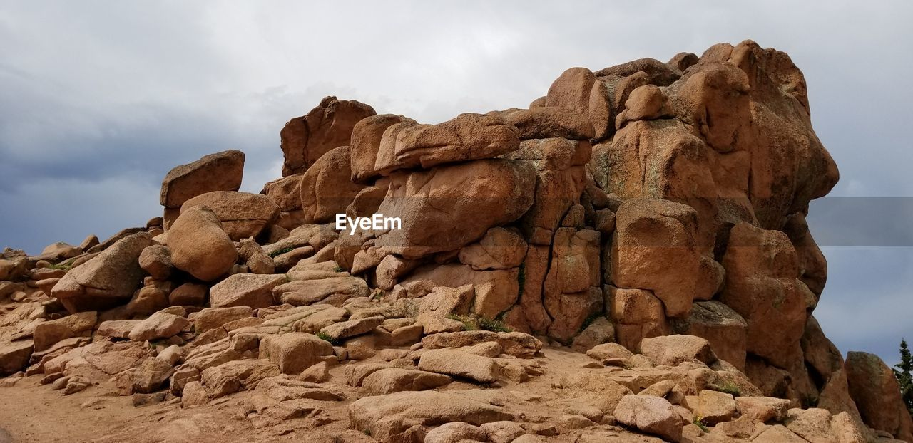 Low Angle View Of Rock Formation At Pikes Peak Against Sky