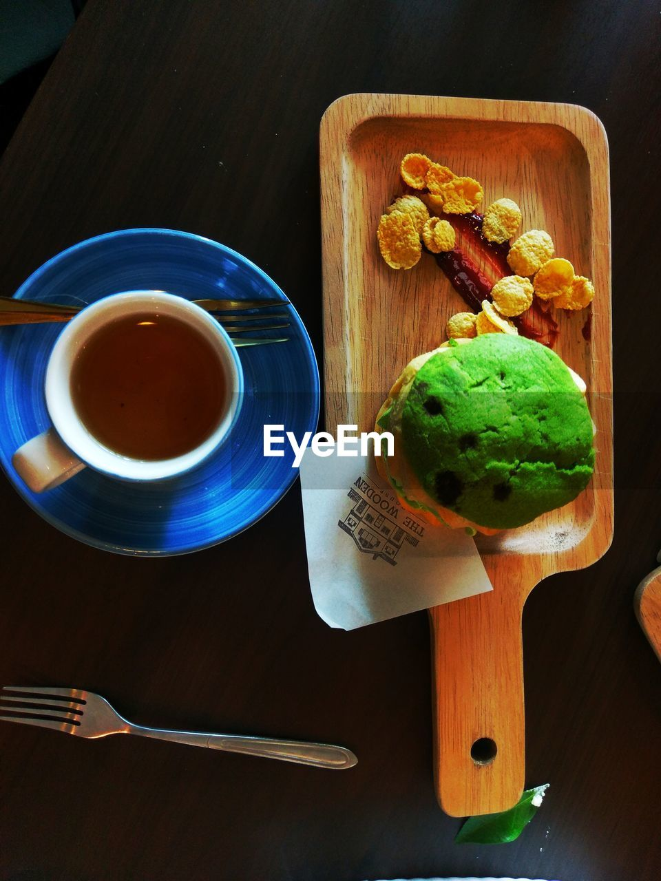 HIGH ANGLE VIEW OF BREAKFAST AND COFFEE ON TABLE
